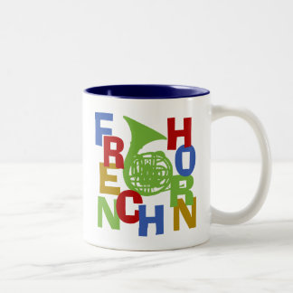 French Horn Scramble Two-Tone Coffee Mug