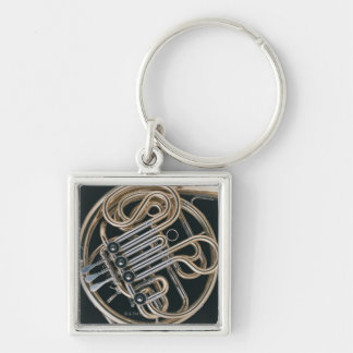 French Horn Silver-Colored Square Key Ring