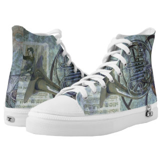 French Horn Steampunk Fantasy High Tops