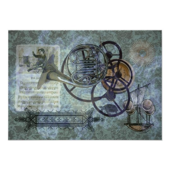 French Horn Steampunk Medley Poster
