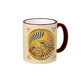 French Horn Swirls Ringer Mug