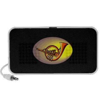 French horn type design yellow and orange speaker