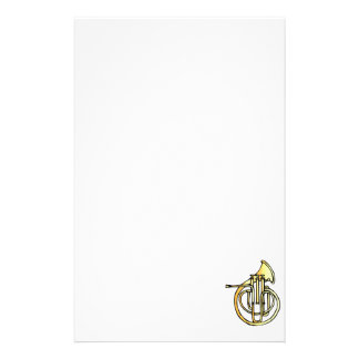 French horn type instrument front facing bell stationery