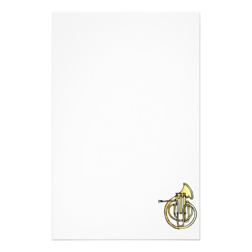 French horn type instrument front facing bell customized stationery