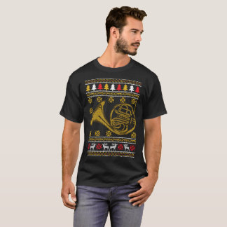French Horn Ugly Christmas Sweater Holiday T-Shirt