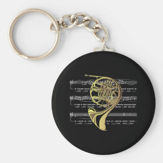 French Horn w/Sheet Music ~ Black Background Basic Round Button Key Ring
