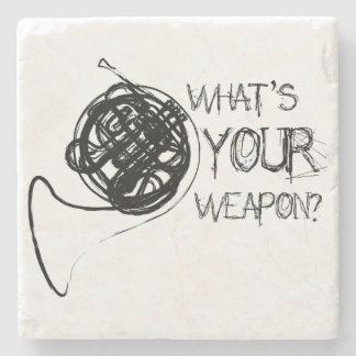 French Horn Weapon Stone Coaster