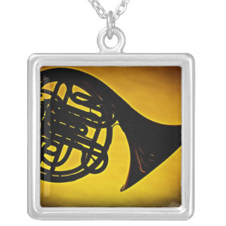 French Horn with Gold Background Image Necklace