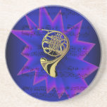 French Horn with Nightfall Background Coaster