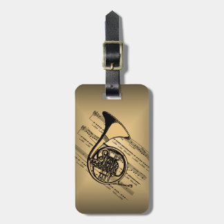 French Horn With Sheet Music Background Luggage Tag