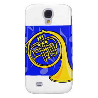 French Horn, Yellow, With Blue Notes Back Galaxy S4 Case