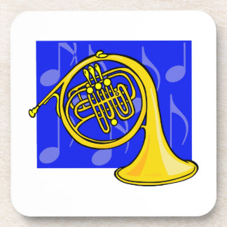 French Horn Yellow With Blue Notes Back Drink Coaster