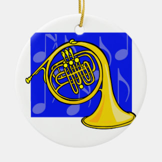 French Horn, Yellow, With Blue Notes Back Double-Sided Ceramic Round Christmas Ornament