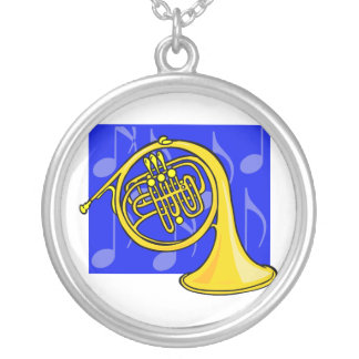 French Horn, Yellow, With Blue Notes Back Custom Necklace