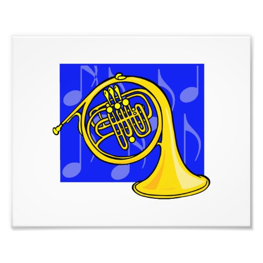 French Horn, Yellow, With Blue Notes Back Photo Art