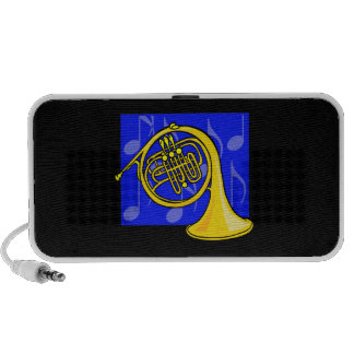 French Horn, Yellow, With Blue Notes Back Portable Speakers
