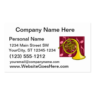 French Horn, Yellow, With Burgundy Notes Back Business Card