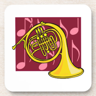 French Horn Yellow With Burgundy Notes Back Drink Coaster
