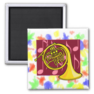 French Horn, Yellow, With Burgundy Notes Back Magnet