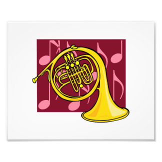 French Horn Yellow With Burgundy Notes Back Art Photo