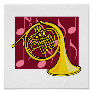 French Horn, Yellow, With Burgundy Notes Back Poster