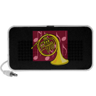 French Horn, Yellow, With Burgundy Notes Back Speakers