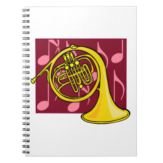 French Horn, Yellow, With Burgundy Notes Back Spiral Notebook