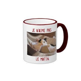French - I don t like morning - cat mug