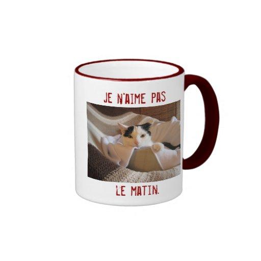 French - I don't like morning - cat mug