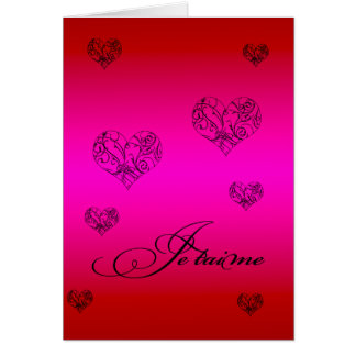 French I Love You Hearts Valentine's Day Card