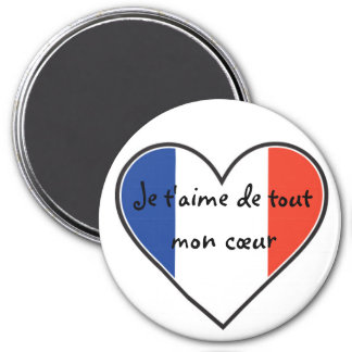 French - I love you with all my heart 7.5 Cm Round Magnet