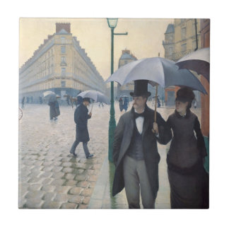 French Impressionism | Paris Street Rainy Day Small Square Tile