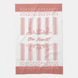 French influence striped damask salmon tea hand towels
