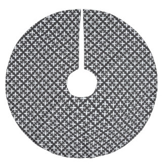 French Inspired Black and White Fleur de Lis Brushed Polyester Tree Skirt