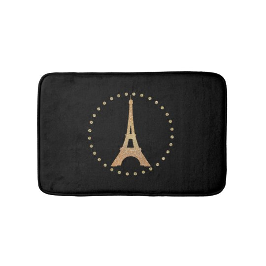 French Inspired Black Bath Mat