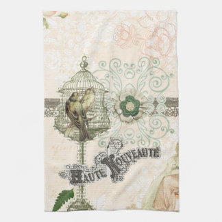 French Inspired Shabby Chic Bird Cage Tea Towels