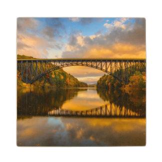 French King Bridge in Fall Maple Wood Coaster