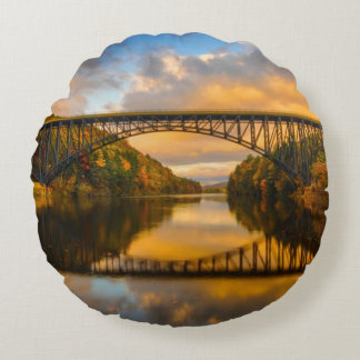 French King Bridge in Fall Round Cushion