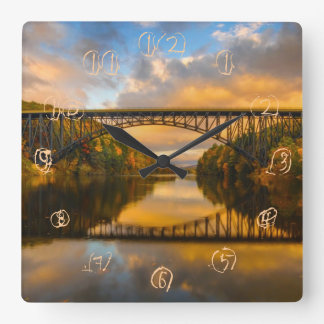 French King Bridge in Fall Square Wall Clock