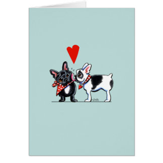 French Kiss Cute Frenchies Greeting Card