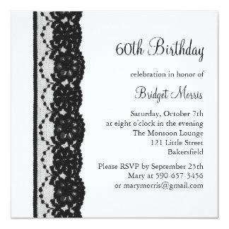 French Lace Birthday Invitation (white)