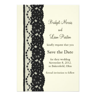 French Lace Save the Date ivory Invitations