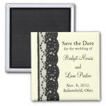 French Lace Save the Date Magnet (ivory)