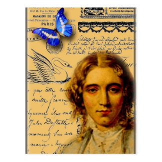 french lady with butterfly postcards