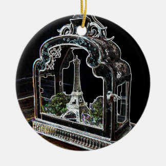 French Lantern with Eiffel Tower in Paris, France Christmas Ornament