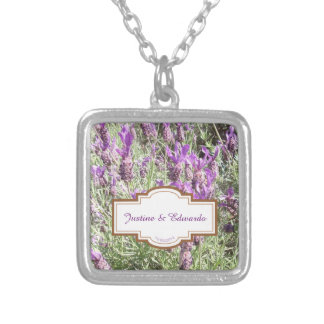 French Lavender Flower Wedding Silver Plated Necklace
