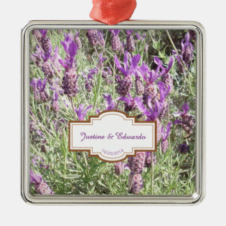 French Lavender Flowers Personalized Wedding Christmas Ornament