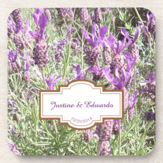 French Lavender Flowers Personalized Wedding Coaster