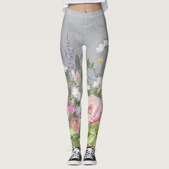 French Lavender Painted Floral Pink Peony Flowers Leggings
