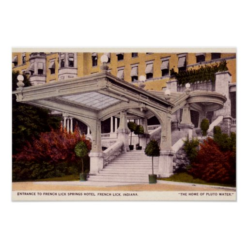 French Lick Indiana Springs Hotel Entrance Poster